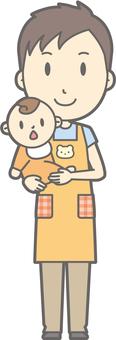 Nursery teacher man - hug - whole body