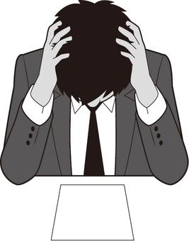 머리를 안고있는 남성 사업가 (서류)