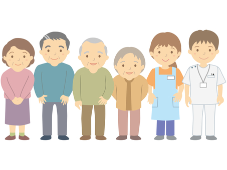Mature elderly and elderly people and nursing care workers