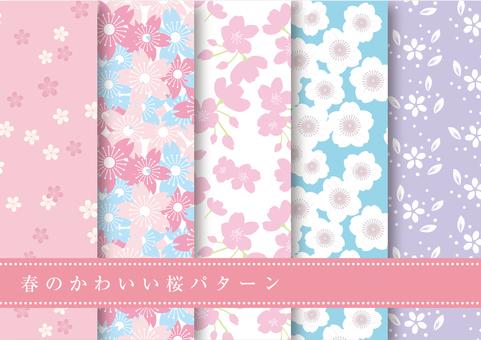 Spring Material 113 Sakura pattern set