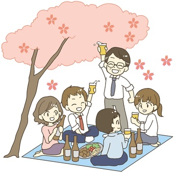 Cherry blossom viewing at company