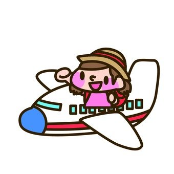 A girl riding an airplane