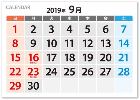 A large calendar dated September 2019