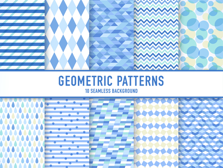 Set of geometric patterns (blue)