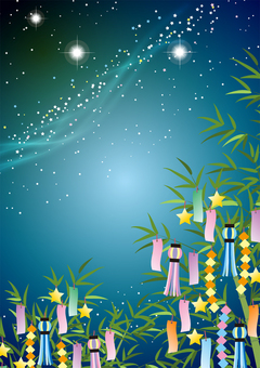 Illustration Milky Way and Tanabata Ornament / Vertical