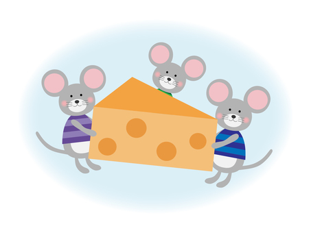 Illustration of Mouse carrying cheese