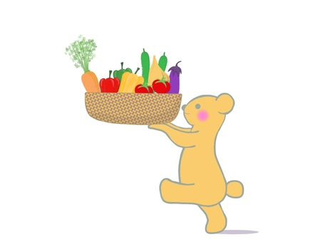 Illustration of a bear carrying vegetables