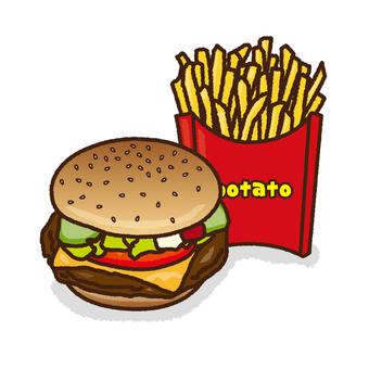 Set of hamburgers and potatoes