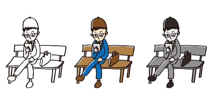 スマホを見るサラリーマン 手描き