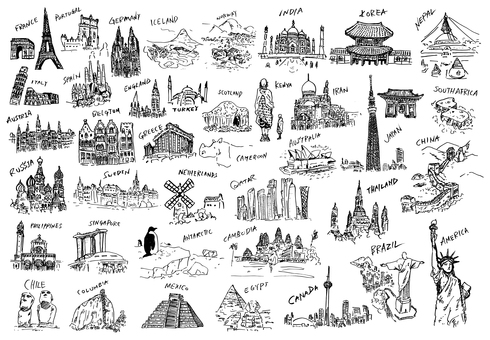 World landmark illustration