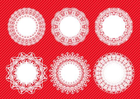 円形レースフレームセット赤色背景