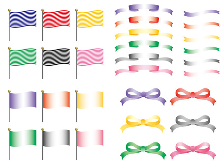Various ribbons and flags