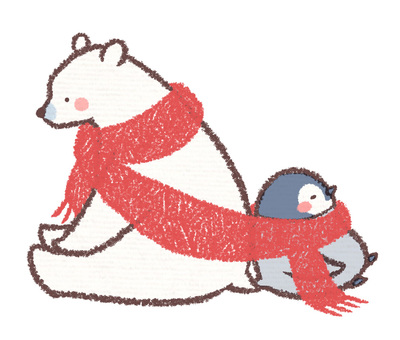 Polar bear and penguin chick muffler