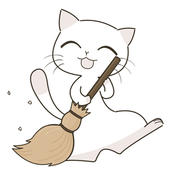 Cat with a broom