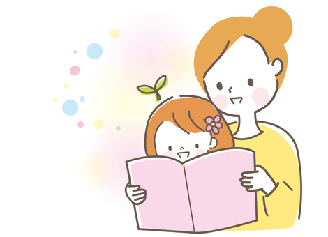 Parents and children reading picture books Mother and girl