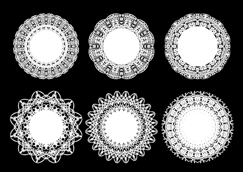 Round lace frame set black background