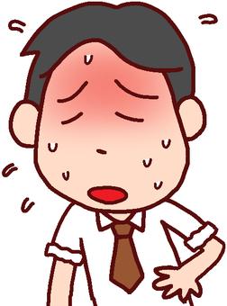 Illustration of men sweating