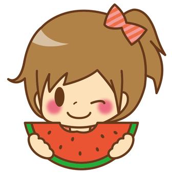 女の子*すいかを食べる