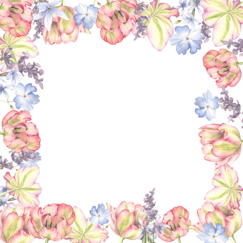 Tulip and lavender flower frame