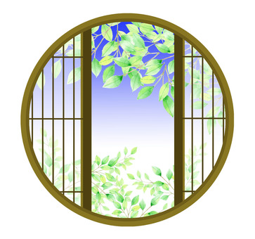 Fresh green from a round window ★ 0134-M
