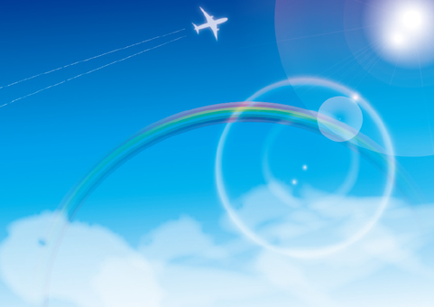 Illustration of the blue sky, the airplane cloud and the rainbow