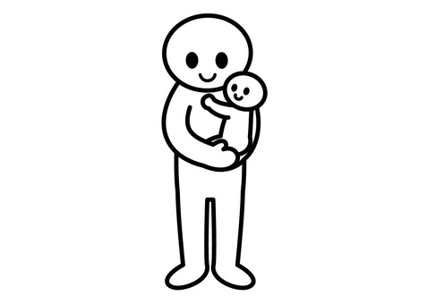 【Theme】 Stickman-Hug a Baby (Vertical)