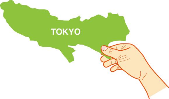 Map of Tokyo ☆ TOKYO pinching the map
