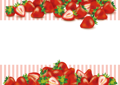 Many strawberries next to the frame