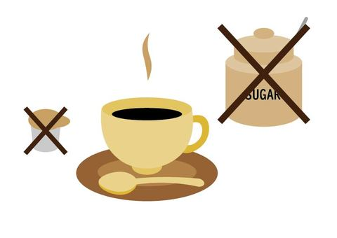 Avoid sugar and milk in coffee