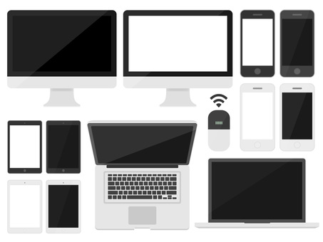 Illustration set of personal computer and smartphone