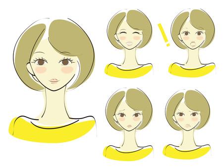 여성의 표정 세트 yellow