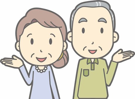 Elderly man and woman d - guidance smile - bust