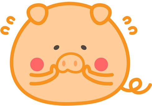 귀여운 돼지가 수줍어하는 일러스트