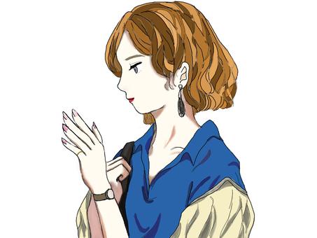 A woman looking at a nail