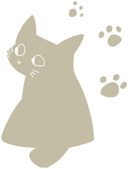 【Cat】 【Silhouette】 【Footprints】