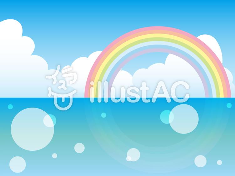【フリーイラスト素材】虹の映る海