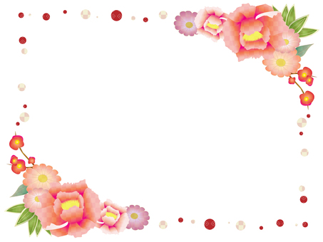 Japanese flower decorative frame 5