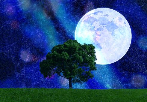 月と天の川と草原と木-キラキラ夏の星空