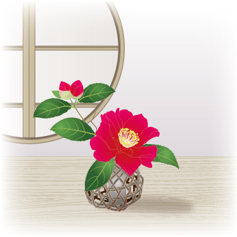 Flower Life _ Forest basket with cypress flowers _ red