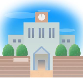 학교 교문 교사 소재 푸른 하늘 하늘 소재