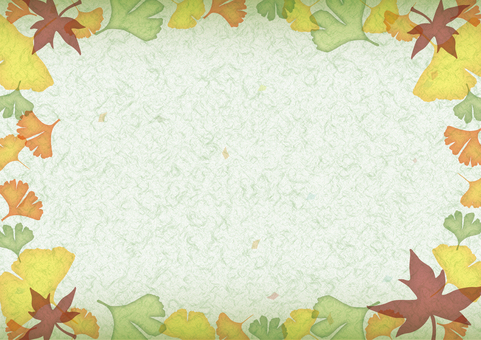 Autumn decoration frame Japanese paper · green
