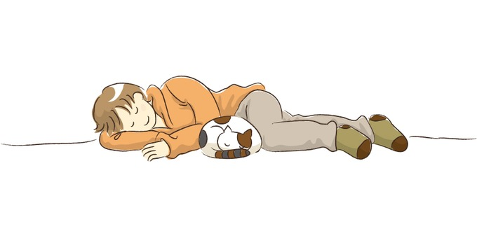 A nap with a cat