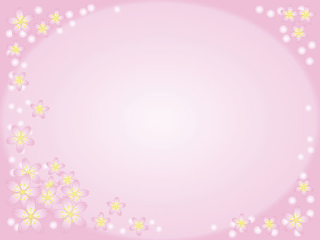 Cherry blossoms frame (long) 1 _ with background