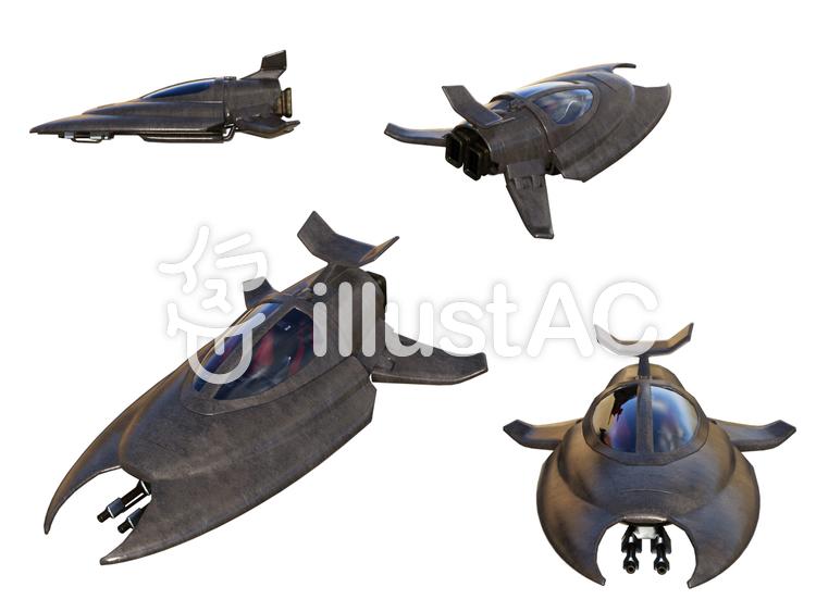 戦闘用二人乗り小型宇宙船のイラスト