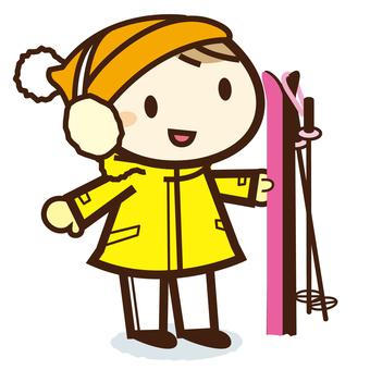 Skiing girls