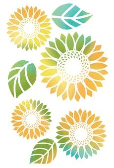 Watercolor sunflower set