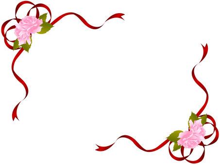 玫瑰和絲帶框架