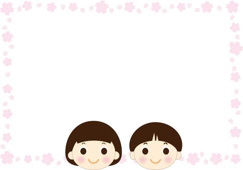 남자와 여자와 벚꽃의 프레임