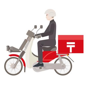 バイク側面 郵便屋さん
