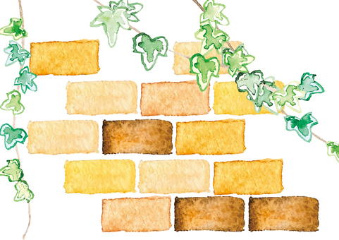 Watercolor style bricks and ivy